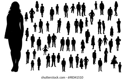 Vector, isolated, silhouette of a large group of standing people