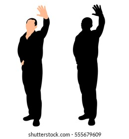 vector, isolated, silhouette of a man greeting
