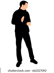 Vector, isolated, silhouette man rejoicing