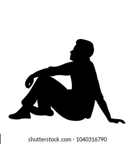 vector, isolated silhouette man sitting