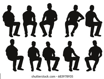 Vector, isolated, silhouette man sitting, collection