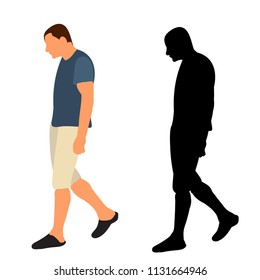 vector, isolated, silhouette man walking