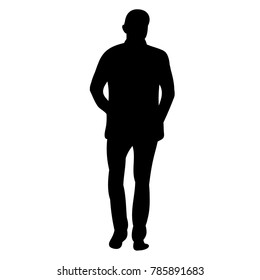 vector, isolated silhouette man walking, alone