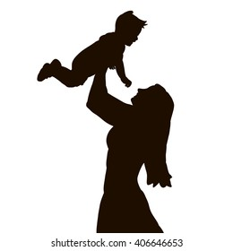vector , isolated, silhouette of mom holding baby