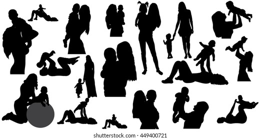 vector, isolated, silhouette of mother and child, set, mom and baby