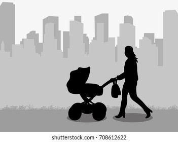 vector, isolated silhouette mum with stroller