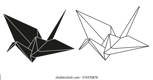 Vector Isolated Silhouette Origami Crane