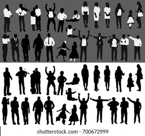 Vector, isolated, silhouette of people collection, set of silhouettes of black and white