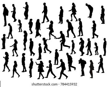 vector, isolated silhouette people go, collection