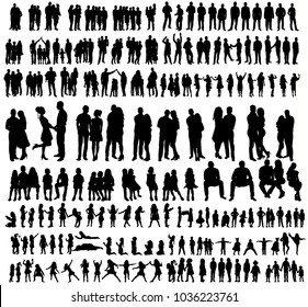 vector, isolated silhouette people, set