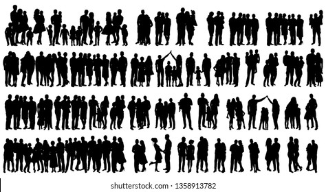 vector isolated silhouette people set