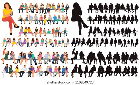 vector, isolated, silhouette people sit, set, collection