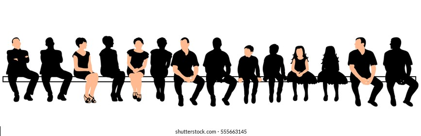 vector, isolated, silhouette a lot of people sit