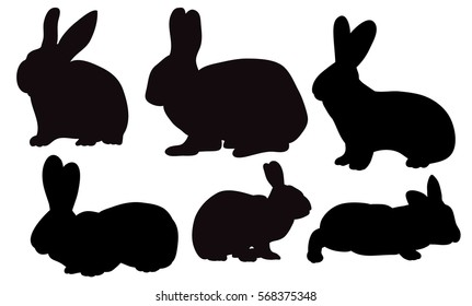 vector, isolated, silhouette rabbits, hares set