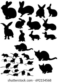 Vector, isolated silhouette of rat, cats and rabbits collection