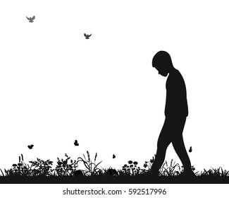 vector isolated silhouette of a sad boy