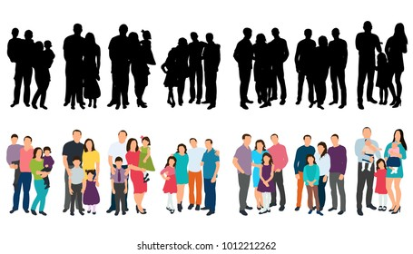 vector, isolated silhouette set family with children on white background