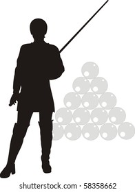 Vector isolated silhouette of sexy woman and billiards