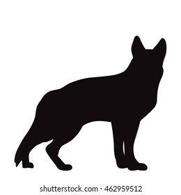 vector isolated silhouette of a shepherd dog