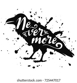 Vector isolated silhouette of a sitting raven, crow.  Illustration of a bird, black on white, with ink splashes, lettering text