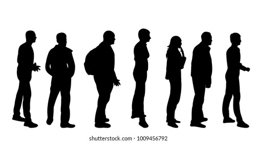 vector, isolated silhouette turn, crowd