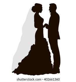 Wedding silhouette images stock photos vectors shutterstock vector isolated silhouette wedding bride and groom junglespirit Gallery
