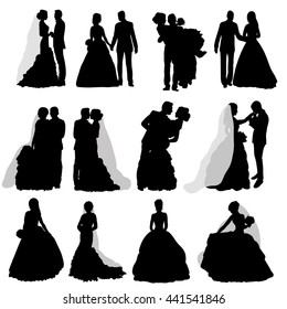 vector , isolated, silhouette , wedding, bride and groom, a great wedding set