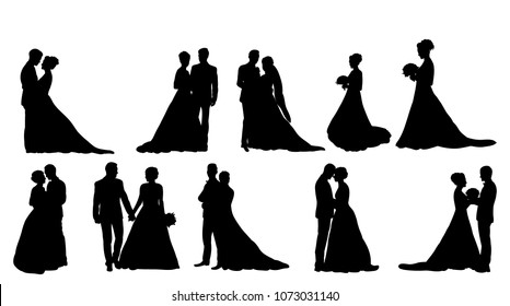 vector, isolated silhouette of wedding, collection