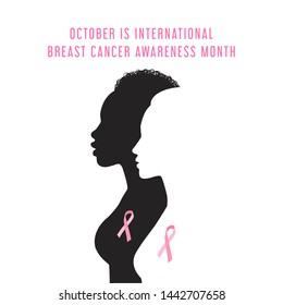 Vector  isolated silhouettes of Black and white woman with pink ribbon, text October is international Breast cancer awareness month.
