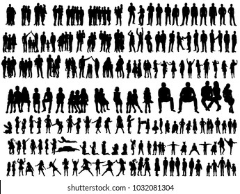 vector, isolated silhouettes of people and children