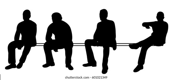 Vector, isolated silhouettes set of men sitting