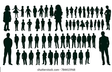 vector, isolated silhouettes set people