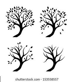 Vector isolated silhouettes of trees in seasons. Set of decorative stylized plants