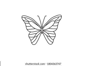 Vector isolated simple minimal graphic contour line butterfly drawing. Colorless single line butterfly drawing coloring page.
