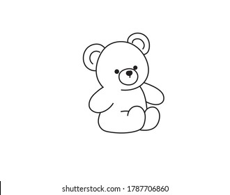 Vector isolated simple teddy bear toy drawing. Colorless contour cute plush bear tiny outline sketch.