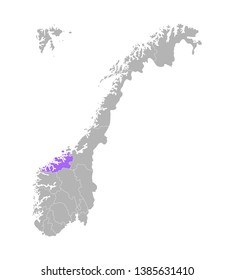 Vector isolated simplified colorful illustration with grey silhouette of Norway, violet contour of Møre og Romsdal region and white outline of norwegian borders. White background