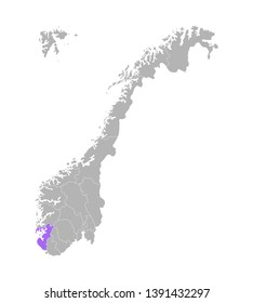 Vector isolated simplified illustration with grey silhouette of Norway, violet contour of Rogaland region and white outlines of norwegian borders. White background