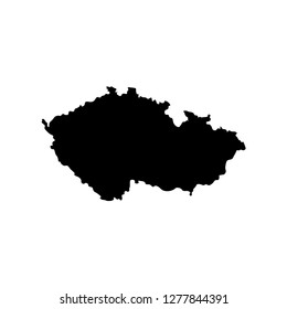Vector isolated simplified illustration icon with black silhouette of Czech Republic. White background