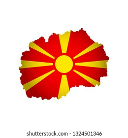 Vector isolated simplified illustration icon with silhouette of North Macedonia map. National Macedonian flag (red, yellow colors). White background