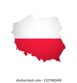 Vector isolated simplified illustration icon with silhouette of Poland map. National Polish flag (red, white colors). White background