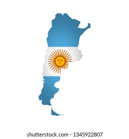 Vector isolated simplified illustration icon with silhouette of Argentina map. National flag. White background