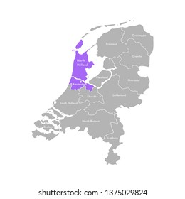 Vector isolated simplified illustration icon with grey silhouette of Netherlands' (Holland) provinces. Selected administrative division - North Holland. White outline and background