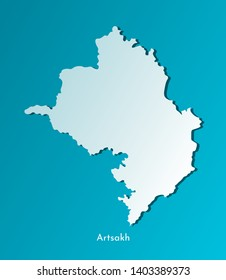 Vector isolated simplified illustration icon with blue silhouette of Artsakh map (Nagorno-Karabakh Republic). Dark blue background