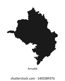 Vector isolated simplified illustration icon with black silhouette of Artsakh (Nagorno-Karabakh Republic) map. White background
