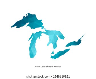 Vector isolated simplified illustration icon with blue low poly shape of Great Lakes of North America (Superior, Huron, Michigan, Erie, Ontario lakes). Polygonal geometric style. White background