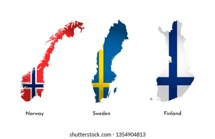 Vector isolated simplified illustration icons with silhouettes of Finland, Norway, Sweden maps. National flags. White background