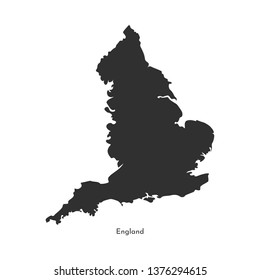 Vector isolated simplified illustration map. Grey silhouette of England (United Kingdom of Great Britain and Northern Ireland). White background