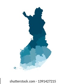Vector isolated simplified map of Finland regions. Borders of administrative divisions. Blue khaki colors silhouette