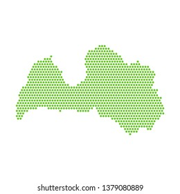 Vector isolated simplified map of Latvia. Green silhouette from the points, white background