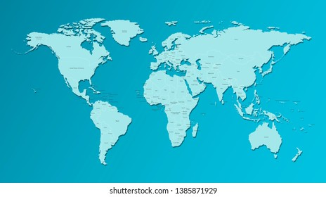 Vector isolated simplified world map with states borders and names. Blue silhouette, white outline and  dark blue background. Note: Morocco and Western Sahara shown separately